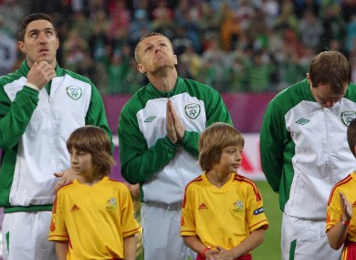 Damien Duff looks for inspiration during Euro 2012.