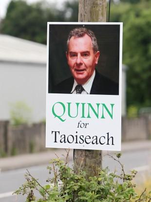 A sign urging Seán Quinn be elected Taoiseach near Ballyconnell in Co Cavan.