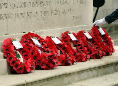 Wreaths laid at the cenotaph at Belfast City Hall last year.