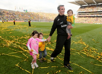 Donegal's manager Jim McGuinness with his children after the All-Ireland final.