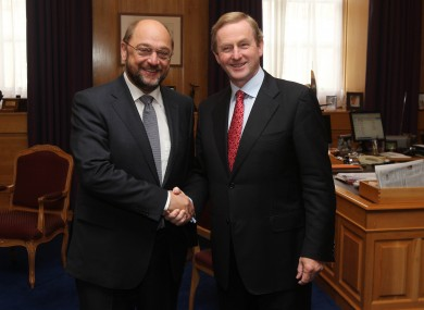 Taoiseach Enda Kenny (right) welcomes president of the European Parliament Martin Schulz to Government Buildings on a previous visit