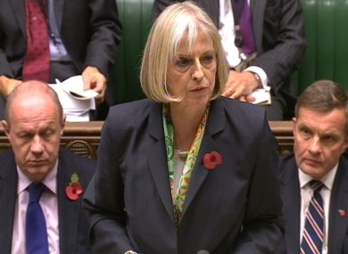 Home Secretary Theresa May in the House of Commons today