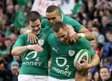 Three of the Irish tryscorers: Sexton, Zebo and Bowe.