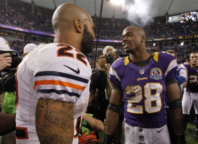 Both Matt Forte (left) and Adrian Peterson could miss out on the playoffs this year.