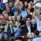 Champions. Dublin captain Bryan Cullen lifts the cup after their provincial triumph. (INPHO/Donall Farmer).