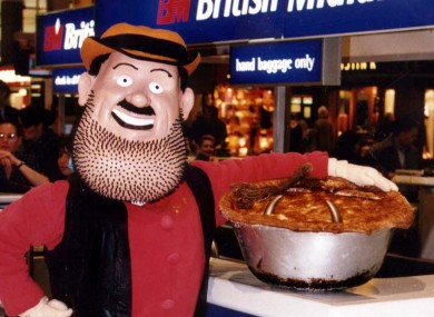 Desperate Dan - complete with cow pie - checks in at Heathrow before returning to Dandy headquarters in Dundee upon his triumphant (post-Spice Girls) return in 1997.