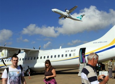 File photo of an Air Bagan plane (not the plane that crashed) at Heho airport in Heho, Shan State