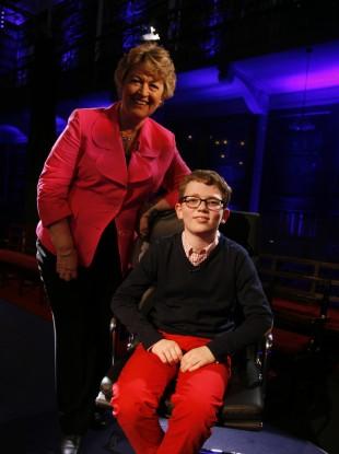 Presenter Nora Owen with winner Jack Meenan