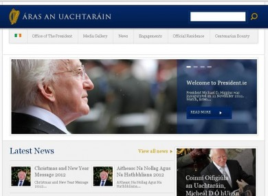 The website of the Office of the President, President.ie, as it currently looks