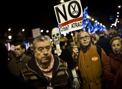 Unions demonstrate against the last government cutbacks, in Madrid on Monday.