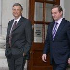 Bill Gates exits Government Buildings with Taoiseach Enda Kenny. (Sam Boal/Photocall Ireland)