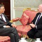 Bill Gates with President Michael D Higgins in Aras an Uachtarain. (Mark Stedman/Photocall Ireland)