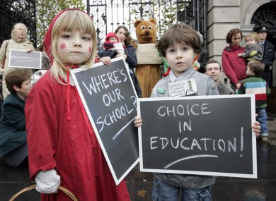 Children from Portobello Educate Together attend a rally for a new school facility in 2010. There are five ET primary schools in Dublin city - but no secondary schools.