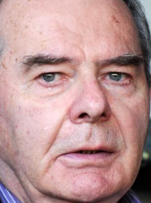 Seán Quinn in tears at a rally held for his benefit in Cavan last year.