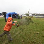Oisin Penston pictured at the Christmas Tree Throwing Competition. (Image: Brian Arthur/ Press 22)