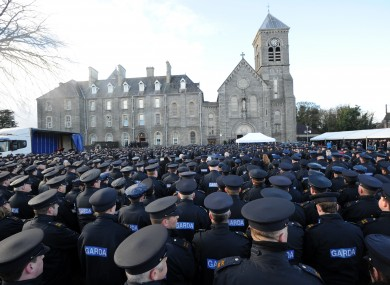 Gardaí attending the funeral of Detective Garda Adrian Donohoe last month.