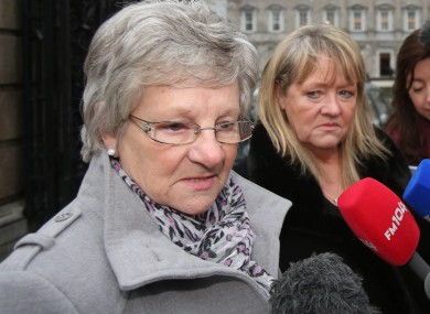 Marina Gambold and Maureen Sullivan, who worked in Magdalene Laundries, outside Leinster House last week.