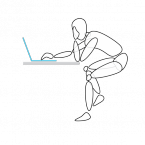 Stands for 'stretched out hunch', and is very common with laptops. Long periods in the position put people at risk for discomfort and eventual injury to the back, arms, wrist, neck and shoulder.