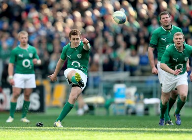 Paddy Jackson sets a penalty attempt on its way.