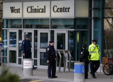 Police guard the entrance to Beth Israel Deaconess Medical Center, where Tsarnaev was being treated