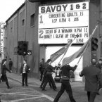 From this group of late (1992) photos, the annual Easter Republican parade passes the surviving local cinema, and the sign had caught my eye, (including the changing-dots upper section which sometimes flashed heart symbols, but I guessed I wouldn't get it to coincide with the passing parade.. and that I was studying then at LCP) and everything seemed momentarily to mean something however unintelligible and or terrible.