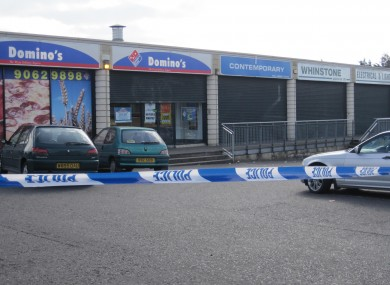 A general view of the area outside Domino's Pizza where McManus was shot dead.