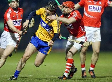 Clare's Nicky O'Connell in action against Cork's Stephen Moylan.