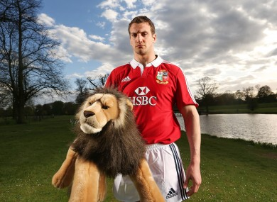 Sam warburton poses with a cuddly toy in London.
