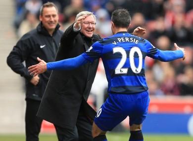 Alex Ferguson and Robin van Persie celebrate.