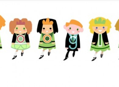 This year's St Patrick's Day doodle featured moving Irish dancers.