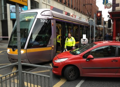 The scene of this evening's crash at the junction of Jervis Street and Abbey Street.