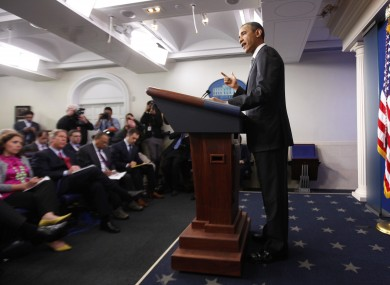 Obama briefing the press at The White House
