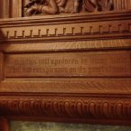 Engraving on the fireplace.