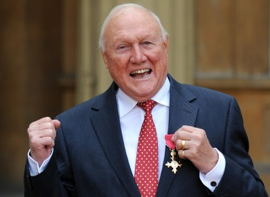 Stuart Hall receiving his OBE at Buckingham Palace in March of last year.