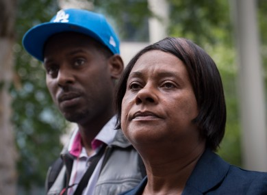 Doreen Lawrence, mother of murdered teenager Stephen Lawrence, leaves the Home Office with her son Stuart following a meeting with the Home Secretary Theresa May.
