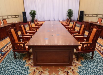 A table at the Hilton Hotel in Seoul, where North and South Korean delegates held their first ever high-level meeting in the past.