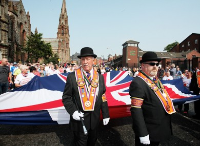 Orange Order march in Belfast this afternoon.