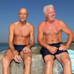 Tony Purcell, left, and Danny Rafferty getting their tan on at Seapoint. Photo: Mark Stedman/Photocall Ireland