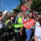 Pro Life and Pro Choice protestors on O'Connell Street, Dublin.