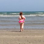 Anna Watters wastes no time as she rushes into Laytown Beach, Co Meath.