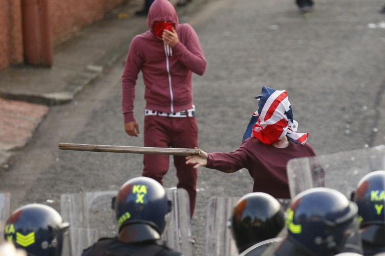 Water cannon used against Belfast rioters as petrol bombs
