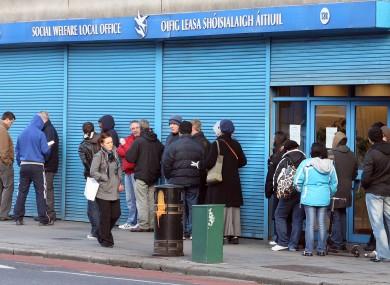 Social welfare queue in Dublin (File photo)