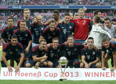 The Bayern players celebrate.