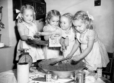 That looks, er, nice. The Good quads cooking at home in Gloucestershire in 1951.