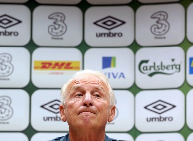Ireland manager Giovanni Trapattoni faces the press yesterday.