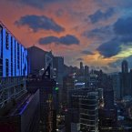 Hong Kong issued a strong wind signal number three as Tropical Storm Jebi edges closer. (AP Photo/Vincent Yu)