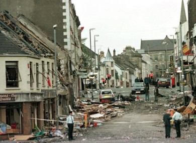 The centre of Omagh after the car bomb which killed 29 on 15 August 1998
