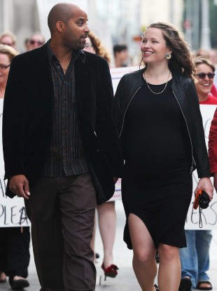 Aja Teehan, right, with her husband Charles Brand, left, outside the High Court last month.