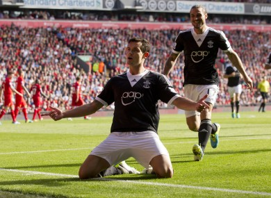 Southampton's Dejan Lovren celebrates after condemning Liverpool to their first defeat of the season.