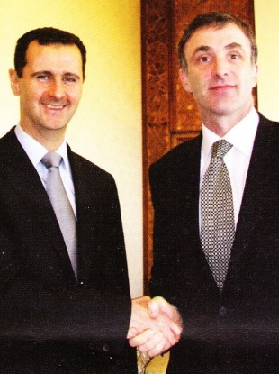 Syrian president Bashar al-Assad and then Fianna Fáil TD Chris Andrews